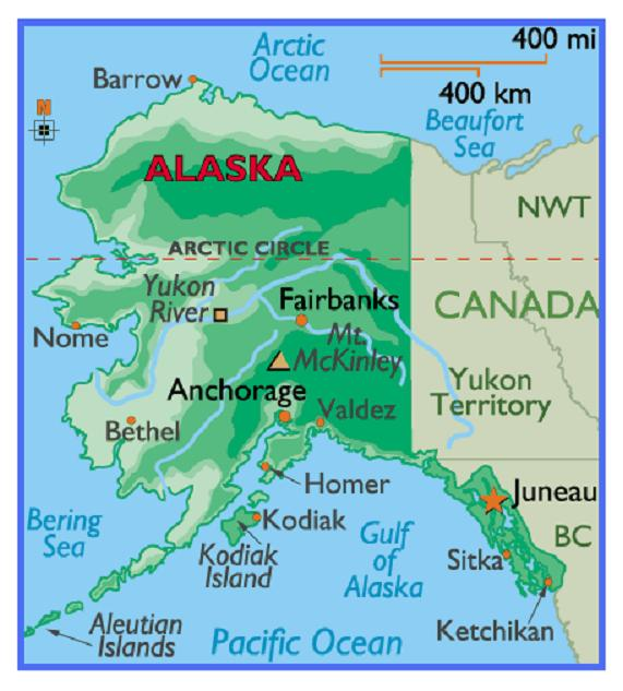 Free Printable Alaska State Map And A List Of States Ranked by Size
