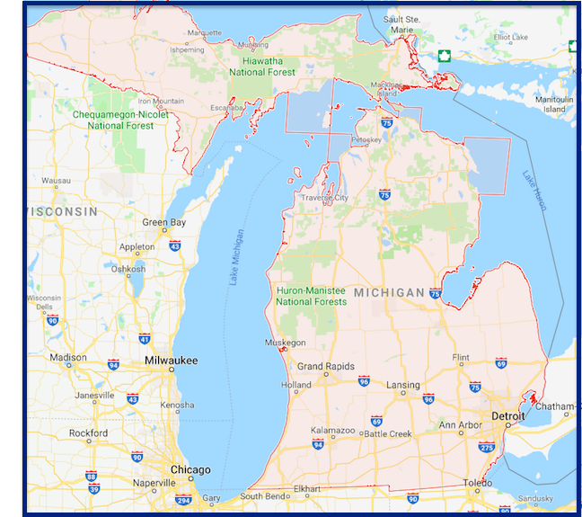 Road Map of Michigan Cities And Towns