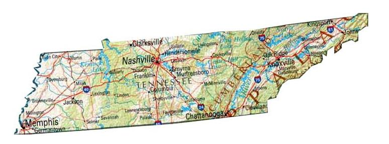 photo relating to Printable Map of Tennessee called Printable Map of Tennessee