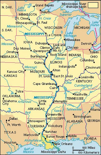 Mississippi River Map and State Photo Gallery