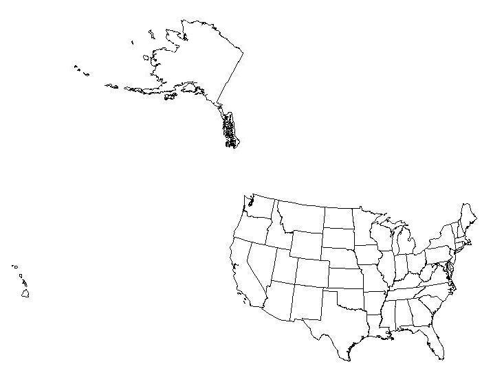 US And Canada Printable Blank Map With Names Royalty Free Jpg Us - Outline map of the us