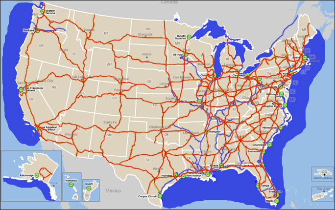 United States Highway Map and U.S. Agriculture