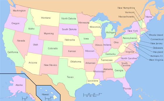 US Map of States and More