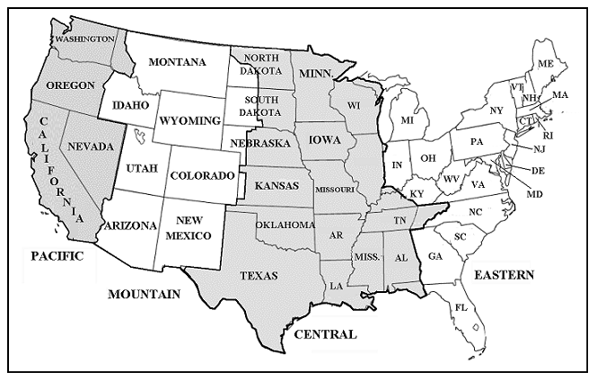 State Time Zone Map Topographic Map - Usa map with states and timezones